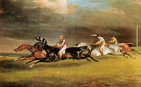 Una corsa di cavalli dei primi anni del 900