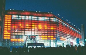 Lo stadio di Basilea di notte