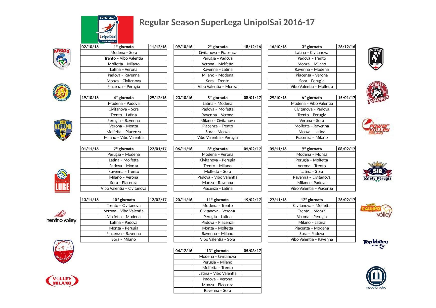 Pallavolo Serie A Maschile Calendario.Pallavolo Calendario Serie A Maschile 2016 17