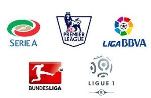 I loghi dei 5 campionati di calcio più importanti in Europa