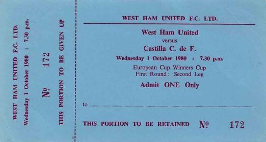 Il biglietto del match West Ham-Castilla
