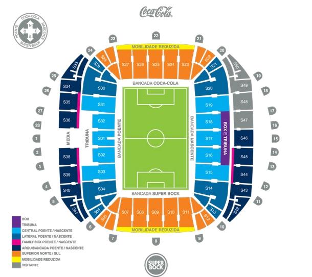 La mappa dello stadio Do Dragao