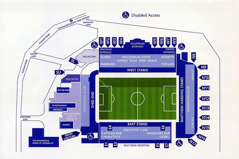 mappa dello stadio del Chelsea