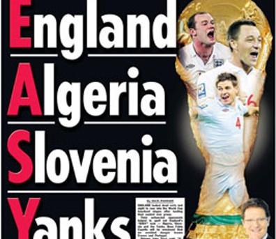 Mondiale 2010: il facile girone dell'Inghilterra secondo The Sun