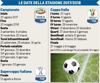 Calcio: il calendario della Serie A 2017-18