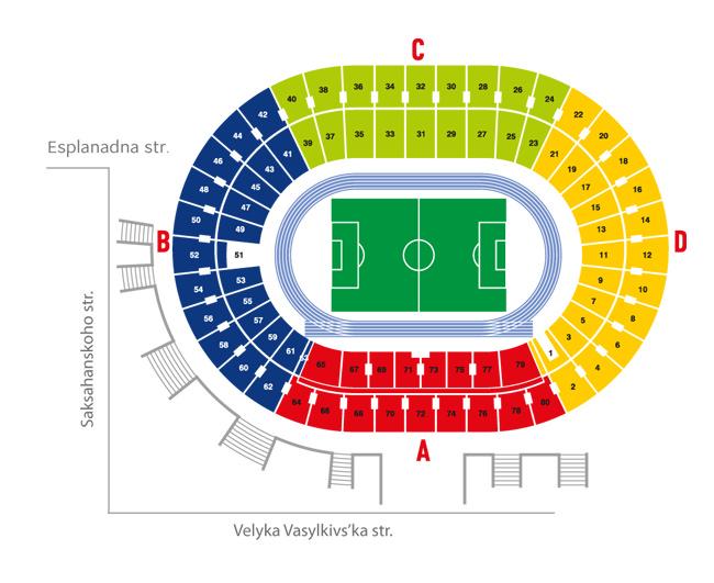 mappa dello stadio olimpico di kiev