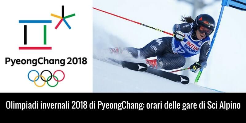 Calendario sci alpino Olimpiadi 2018